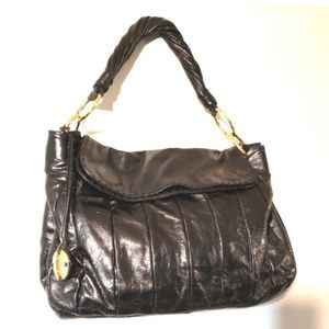Donald J Pliner black leather handbag